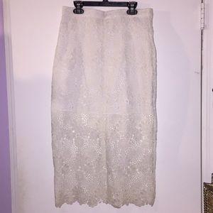 Ivory crochet midi skirt